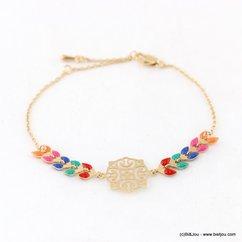 bracelet épi de blé rosace émaillé filigrane 0217119 multi