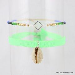 Lot de 2 bracelets coquillage cauri carré métallique 0217182 vert