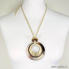 sautoir double anneaux résine cordons simili-cuir 0117279 marron