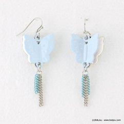 boucles d'oreilles femme papillons émaillés fermoir hameçon 0317163 bleu