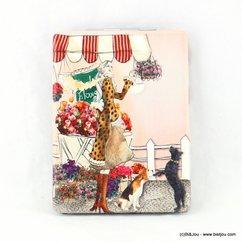 miroir de poche rectangulaire parisienne fleur chien 0617008 multi