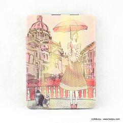 miroir de poche rectangulaire parisienne parapluie chat 0617014 multi