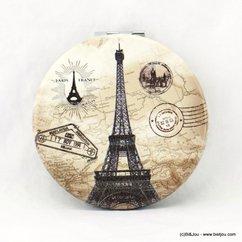 miroir de poche rond tour eiffel paris timbre postal 0617021 taupe