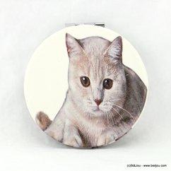 miroir de poche rond chat 0617023 gris clair