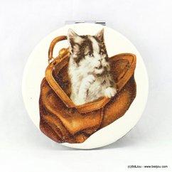 miroir de poche rond chat sac 0617024 marron