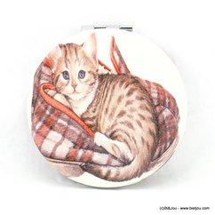 miroir de poche rond chat tigré couverture 0617027 taupe