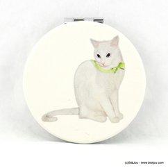 miroir de poche rond chat blanc ruban vert 0617028 blanc