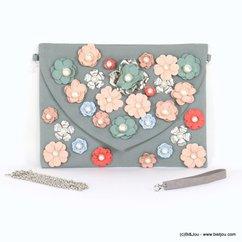 pochette rabat fleur tissu métallique imitation perle 0917097 multi