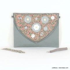 pochette rabat fleur nacre imitation perle 0917098 multi