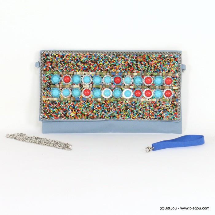 Pochette en tissu bleu avec perles multicolores et effet marbre