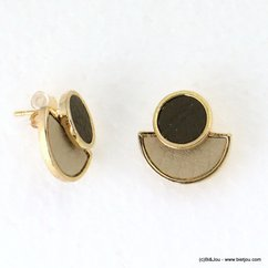 boucles d'oreilles demi-lune simili-cuir bicolore fermoir poussette 0317178 taupe