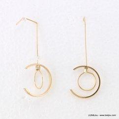 boucles d'oreilles minimaliste passefil demi-cercle métallique 0317174 doré