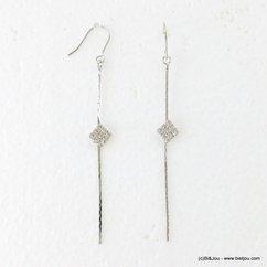 boucles d'oreilles minimaliste pendante carré strassé fermoir hameçon 0317171 argenté