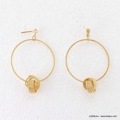 boucles d'oreilles minimaliste pendante créole pelote métallique fermoir poussette 0317181 doré