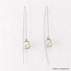 Boucles d'oreilles passe-fil à chaîne fine avec perle de culture synthétique