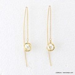 boucles d'oreilles passefil imitation perle 0317173 argenté
