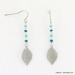 boucles d'oreilles pendante feuille filigrane fermoir hameçon 0317156 bleu turquoise