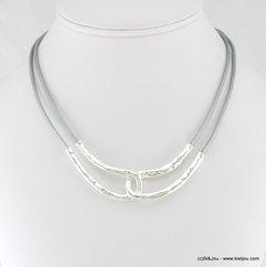 collier cordons cuir véritable métal martelé 0117317 gris clair