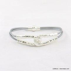bracelet cordons cuir véritable métal martelé fermoir aimanté 0217195 gris clair