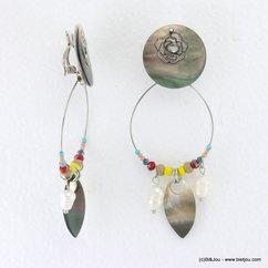 boucles d'oreilles boho gypsy camélia filigrane pièce nacre fermoir clip 0317189 naturel/beige