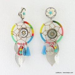 boucles d'oreilles XL boho gypsy attrape-rêve feuille filigrane fermoir clip 0317191 naturel/beige