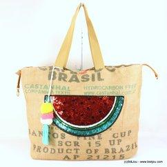 cabas toile de jute femme pastèque pompon rond tassel tissu 0917126 naturel/beige