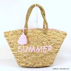 panier plage herbier SUMMER pompon tassel tissu 0917128 naturel/beige