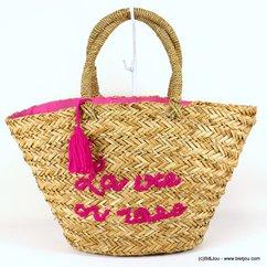 panier plage herbier LA VIE EN ROSE pompon tassel tissu 0917129 naturel/beige