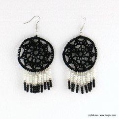 boucles d'oreilles boho gypsy crochet fermoir hameçon 0317192 noir