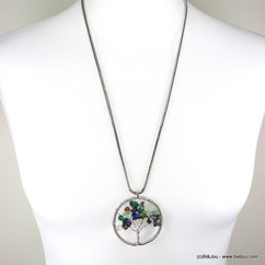 collier arbre de vie éclats de pierre chaîne serpent 0117336 vert