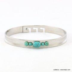 bracelet jonc ouvrable 3 positions 5 pierres couleur turquoise 0217210 argenté