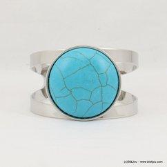 bracelet manchette métal ouverte pierre couleur turquoise 0217211 bleu turquoise