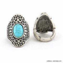 bague réglable métal vieilli pierre couleur turquoise 0417032 bleu turquoise