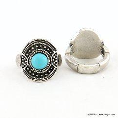 bague réglable métal vieilli pierre couleur turquoise 0417034 bleu turquoise