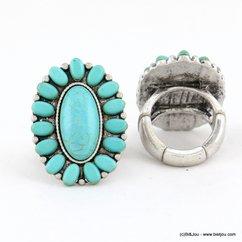 bague réglable métal vieilli pierre couleur turquoise 0417037 bleu turquoise