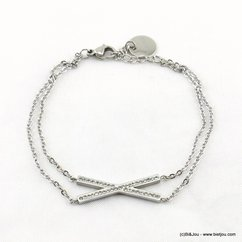 bracelet acier inoxydable barrettes croisées serties de strass 0217205 argenté