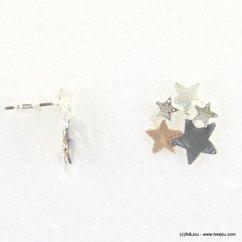 boucles d'oreilles étoiles tricolore fermoir clou 0317196 doré/argenté