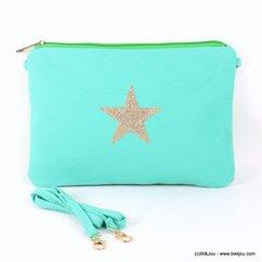 pochette tissu étoile scintillante 0917138 bleu ciel