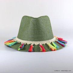 chapeau souple Trilby paille de papier pompon tassel tissu multicolore 0617048 vert kaki