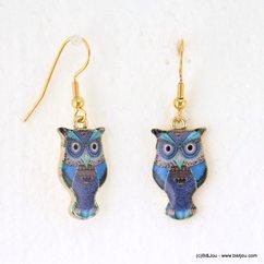 boucles d'oreilles vintage chouette-hibou fermoir crochet 0317575 bleu foncé