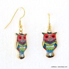 boucles d'oreilles vintage chouette-hibou fermoir crochet 0317578 vert