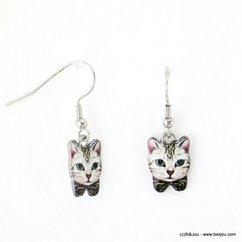boucles d'oreilles vintage chat fermoir crochet 0317585 vert foncé