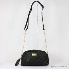 sac à bandoulière chaîne Gallantry femme simili-cuir texturé pompon tassel 0917518 noir