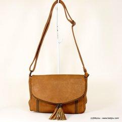 sac à bandoulière Gallantry femme simili-cuir toucher souple rabat pompon tassel 0917519 marron