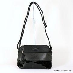 sac à bandoulière Gallantry femme simili-cuir 3-bandes 3-textures 0917525 noir