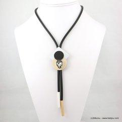 collier silicone gomme caoutchouc pendentif géométrique 0117569