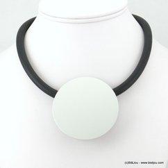collier plastron rond silicone gomme caoutchouc 0117574 argenté