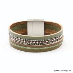 bracelet cuir véritable femme aimanté 0217515 vert