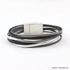 bracelet aimanté cuir véritable 0217519 noir