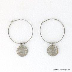 boucles d'oreilles minimaliste arbre de vie acier inoxydable 0317667 argenté